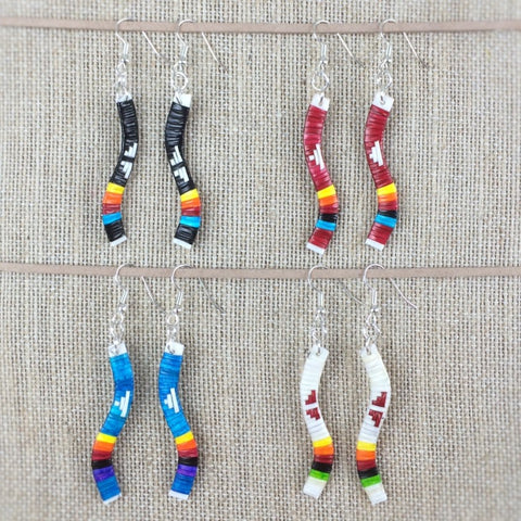 Red Cloud Quillwork Earrings - Waves Collection