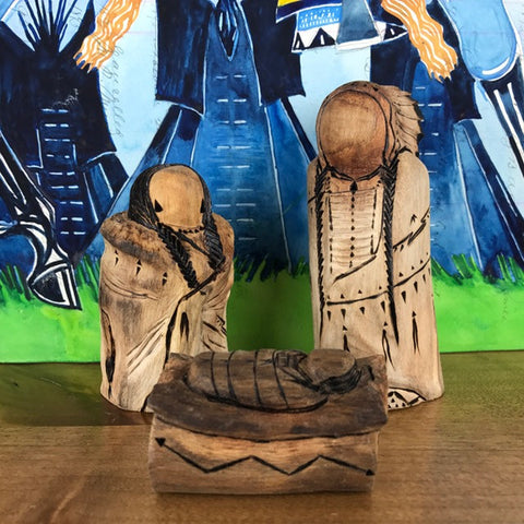 Carved Cottonwood Smaller Three-Piece Nativity
