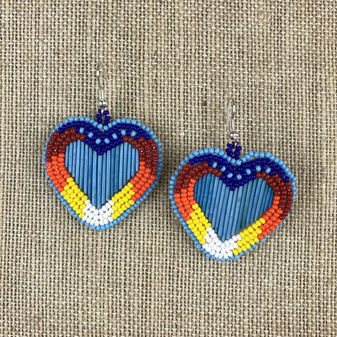 Quillwork Earrings - Turquoise Hearts
