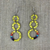 Red Cloud Quillwork Earrings - Triple Circles