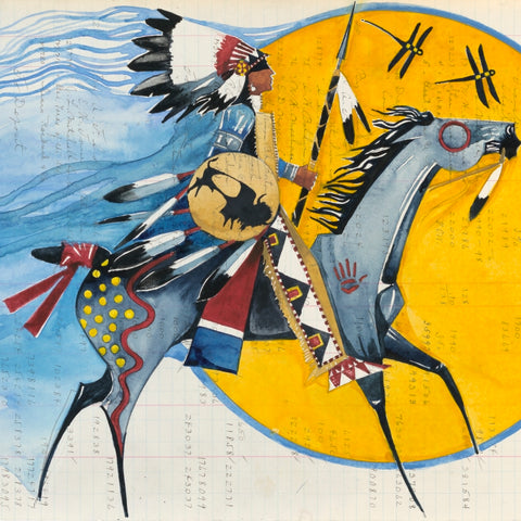 (Fine Art Print) Watercolor on Antique Ledger Paper ~ I Ride Against Your Corporate Greed