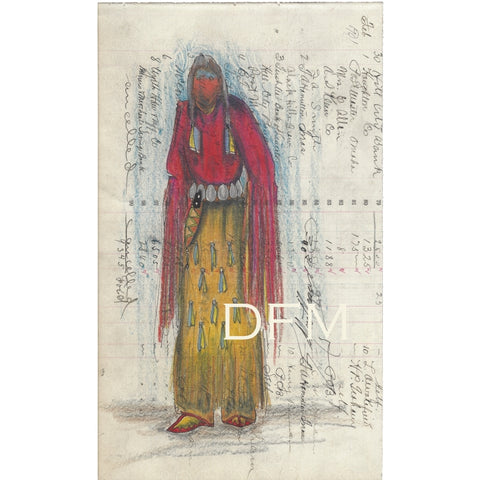 Original Prismacolor Pencil on Antique Ledger Paper ~ Unci