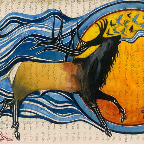 Watercolor on Antique Ledger Paper ~ Song of the Elk Nation