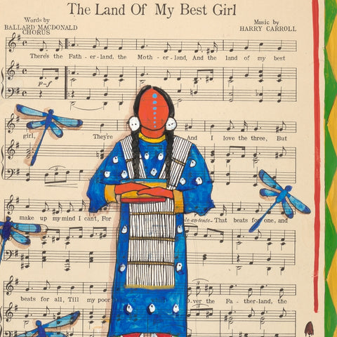 (Fine Art Print) Ledger Art on Antique Sheet Music ~ The Land of My Best Girl