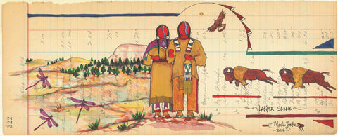 (Fine Art Print) Acrylic on Antique Ledger Paper #322 - Lakota Scene