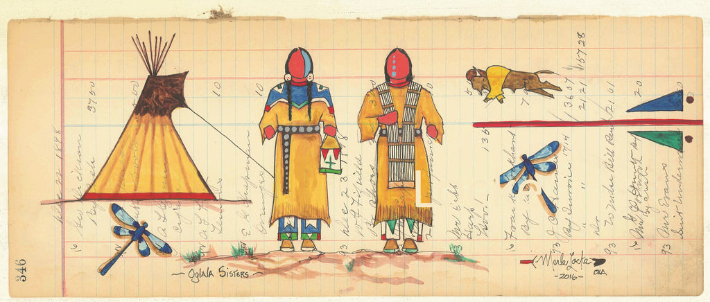(Fine Art Print) Antique Ledger #346 - Oglala Sisters