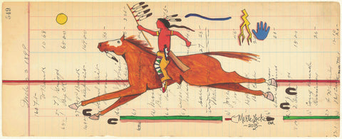 (FINE ART PRINT) Acrylic on Antique Ledger Paper #549 Horse and Rider with Lightening