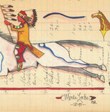 (FINE ART PRINT) Acrylic on Antique Ledger Paper Horse and Rider #554