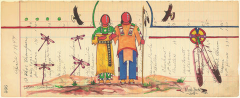 (FINE ART PRINT) Acrylic on Antique Ledger Paper #566 Lakota Commitment