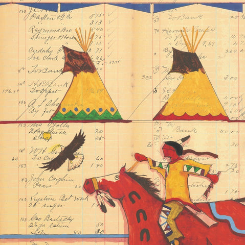 (FINE ART PRINT) Acrylic on Antique Ledger Paper #20 & #5 Rider with Two Tipis