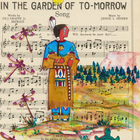 Native American Original Ledger Art on Antique Sheet Music In the Garden of To-Morrow