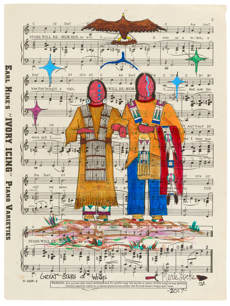 Native American Original Ledger Art on Antique Sheet Music ~ Great Stars of Wings