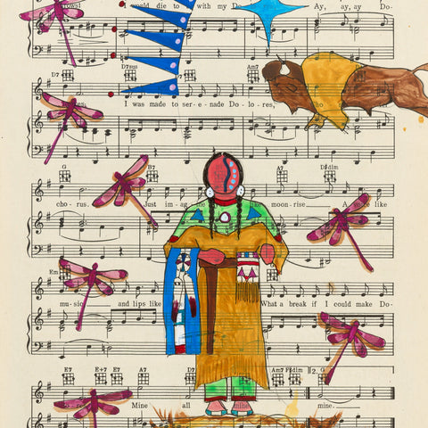 (Fine Art Print) Ledger Art on Antique Sheet Music ~ Nation of Great Wisdom