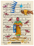 Native American Original Ledger Art on Antique Sheet Music ~ Nation of Great Wisdom