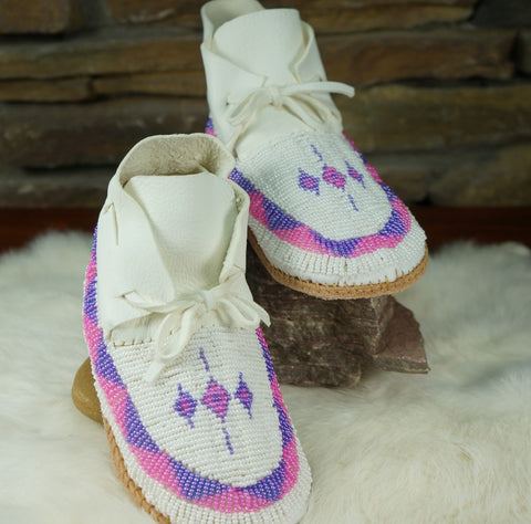 Special In-Stock Fully-Beaded Leather Girl's Moccasins