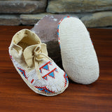Beaded leather child's moccasin