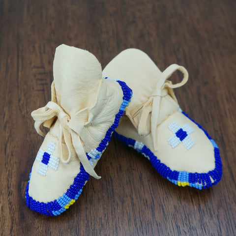 Beaded Leather Baby Moccasins - Blue