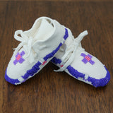 Beaded Leather Baby Moccasins - Purple