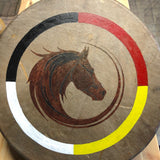 "Painted 15"" Buffalo Hide Drum - Horse"