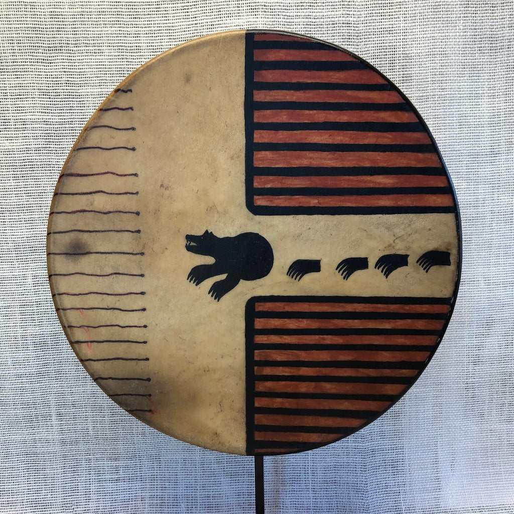 "Painted 15"" Elk Hide Drum - Bear"