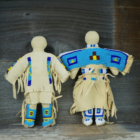 Traditional Buckskin Doll Pair - Turquoise