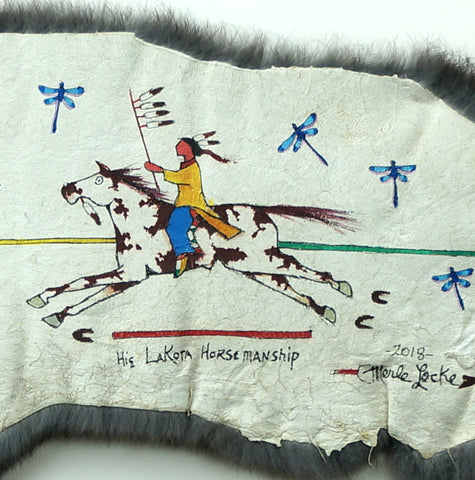 His Lakota Horsemanship - Acrylic on Rabbit Fur