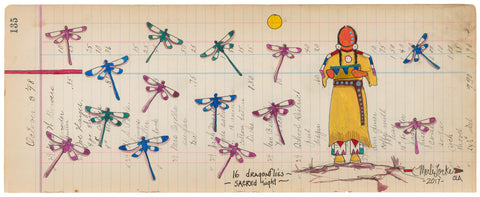 (Fine Art Print) Antique Ledger #135 - 16 Dragonflies