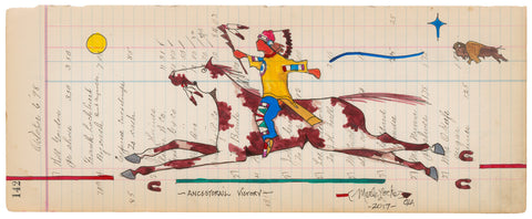 (FINE ART PRINT) Acrylic on Antique Ledger Paper #142 - Ancestorail Victory