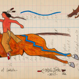 (Fine Art Print) Antique Ledger #140 - Defender of Lakota