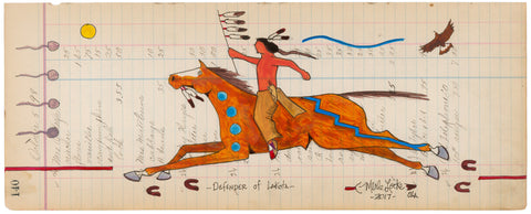 (FINE ART PRINT) Acrylic on Antique Ledger Paper #140 - Defender of Lakota
