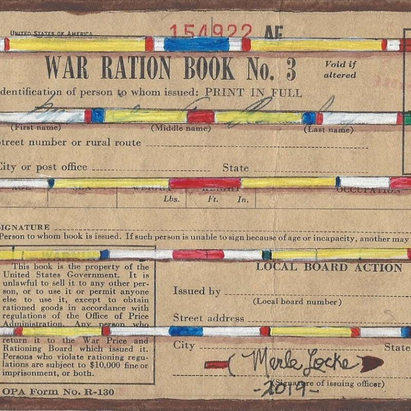 Original Ledger Art on WWII Ration Book Cover - Lakota Dignity