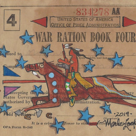 Original Ledger Art on WWII Ration Book Cover - Rider of Stars
