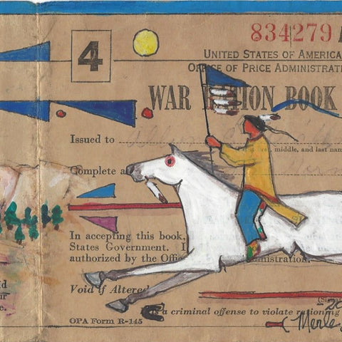 Original Ledger Art on WWII Ration Book Cover - Homeland Keeper