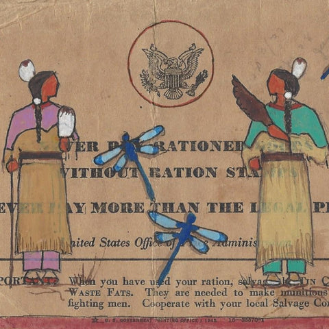 Original Ledger Art on WWII Ration Book Cover - Merle L. Newton
