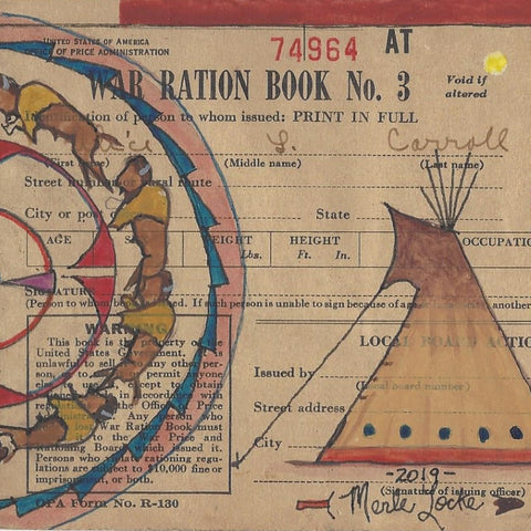 Original Ledger Art on WWII Ration Cover - Lakota Buffalo Thoughts