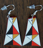 Parfleche Trapezoid Earrings with Felt Backing ~ 4 Colors