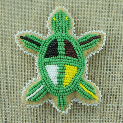 Beaded Turtle Amulet - Medicine Wheel