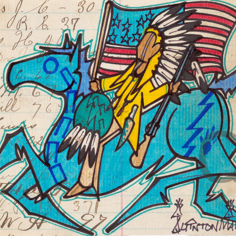 Ledger Art - Flag and Blue Horse