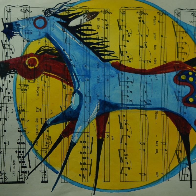 Original Watercolor on Vintage Music Sheet ~ Thunder and Lightning