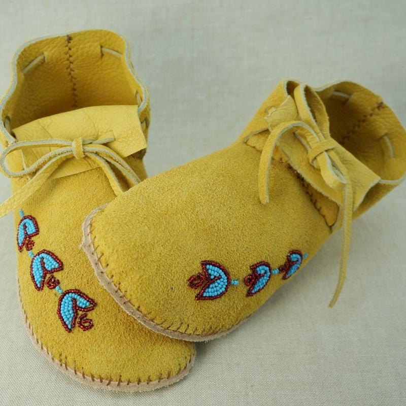 Deer Hide Moccasins with Light Beading - Women's Sizes