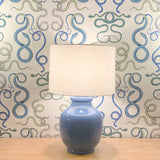 Mid-Century Ceramic Gourd Lamp and Linen Lamp Shade