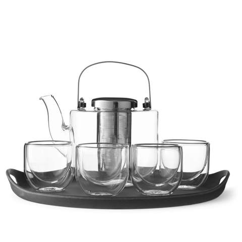 Tea Set - Bjorn Glass 4 cups & tray