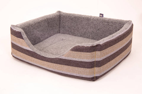 Pet luxury avondale dog bed gleneagles collection square charcoal grey striped fleece lined