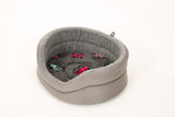 Round suede grey dog bed with VW fleece washable base pad - fleece lined