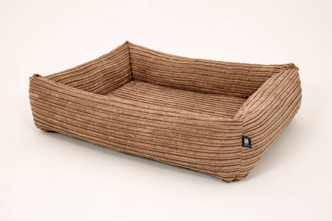 Pet luxury avondale dog bed chunky square memory foam brown mocha thick cord