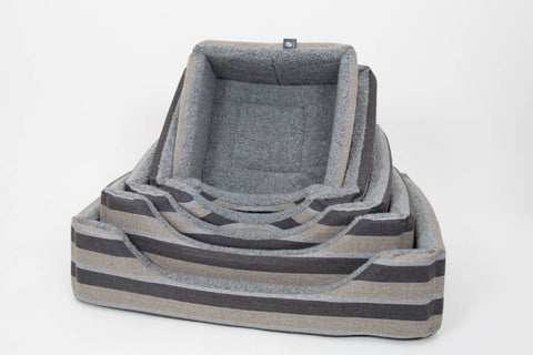 Pet luxury avondale dog bed gleneagles collection square charcoal striped fleece lined