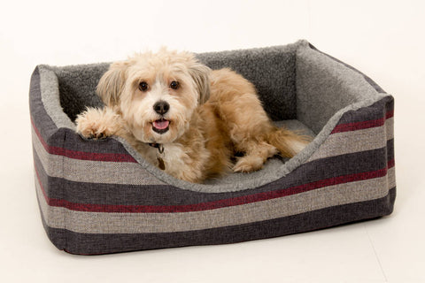 Pet luxury avondale dog bed gleneagles collection square granite striped fleece lined
