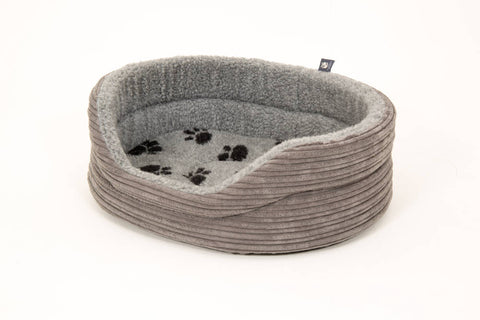 Washable Pet luxury avondale dog bed regent collection round grey cord paw print fleece lined