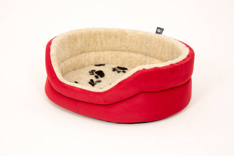 Pet luxury avondale dog bed round suede fleece lined red