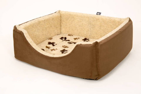 Pet luxury avondale dog bed square suede fleece lined brown